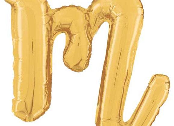 """34713GP - 14"""" Script Letter  """"m"""" Gold"""
