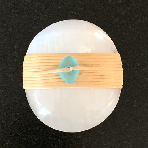 Selenite Round Stone with Blue Sea Glass Bead - Clarity & Deep Fluid Peace