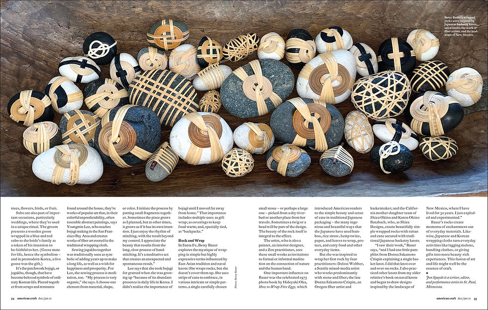 American Craft Council Magazine article Betsy Bauer Wrapped Rocks. John Spayde  Wrapture