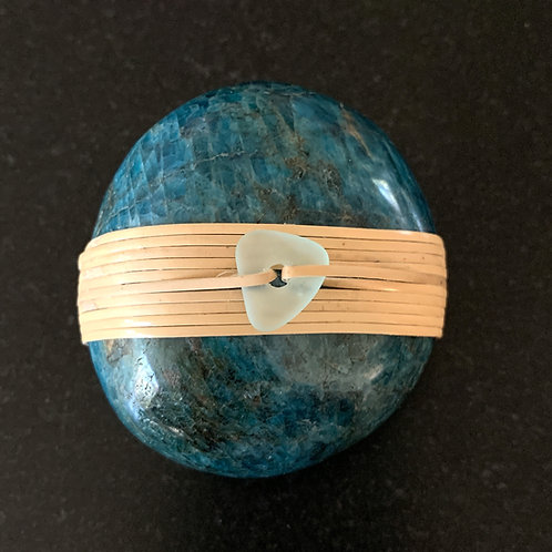 Apatite Stone wrapped with Cane & Sea Glass Bead - Inspiration & Creativity