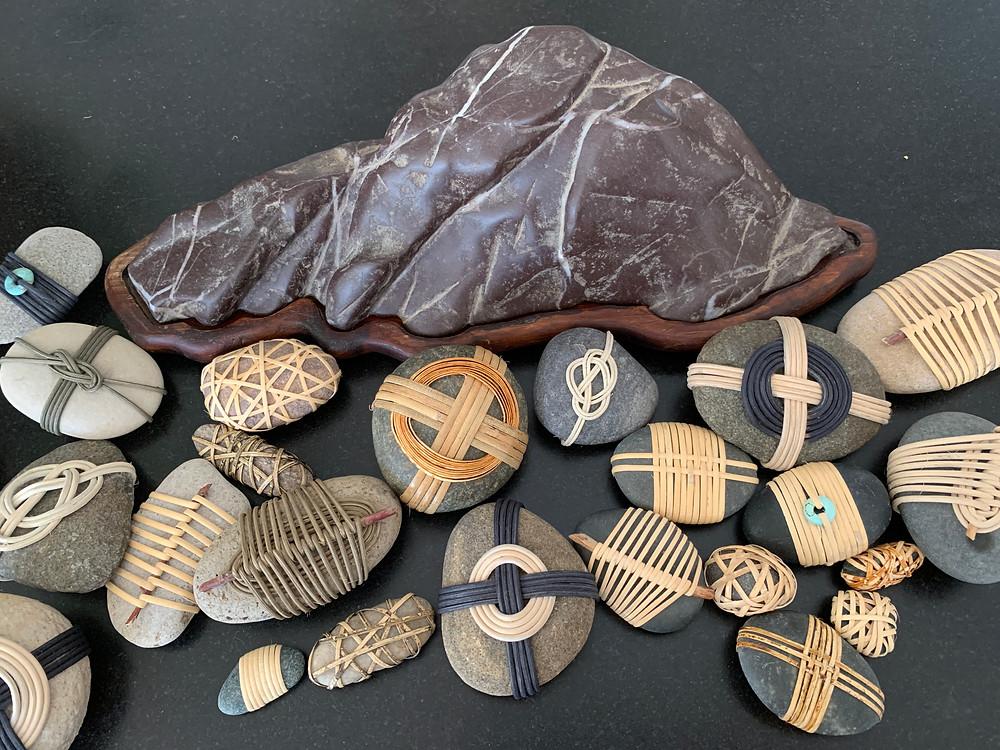 wrapped rocks suiseki japan
