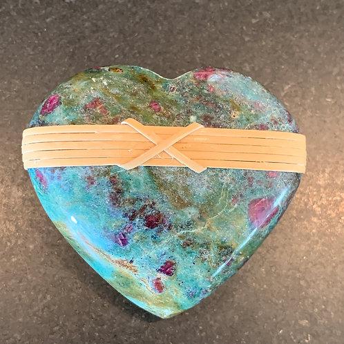 Rare Ruby in Kyanite w Green Fuchsite Heart Rock - Passion
