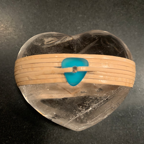 Clear Quartz Heart Wrapped with Sea Glass Bead- Clarity & Centered Healing