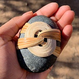 wrapped rocks hand hold nature home decor