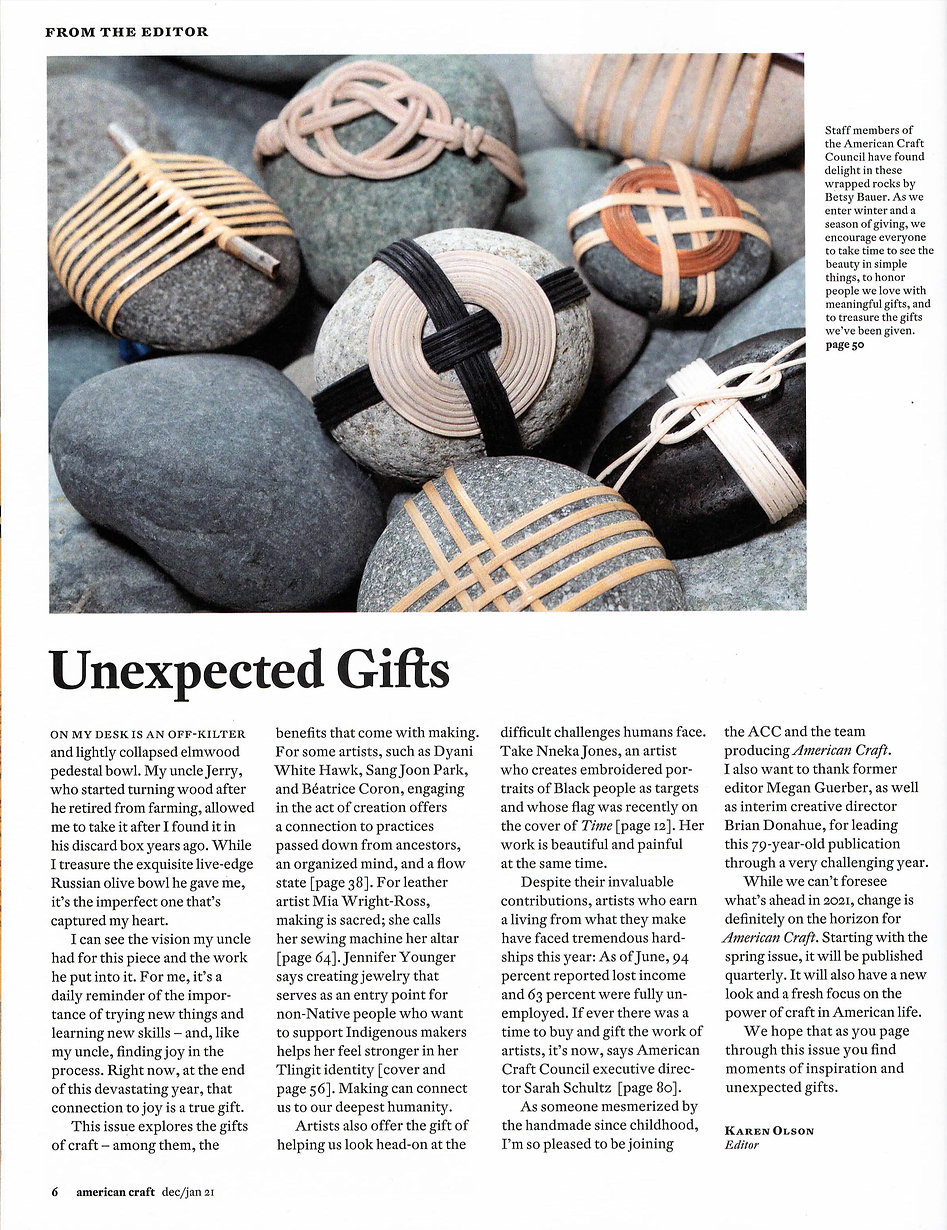 American Craft Magazine Karen Olson Letter from Editor Betsy Bauer Wrappedrockz
