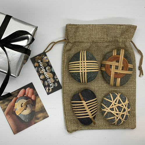 Curated Collection of 4 Wrapped Rockz