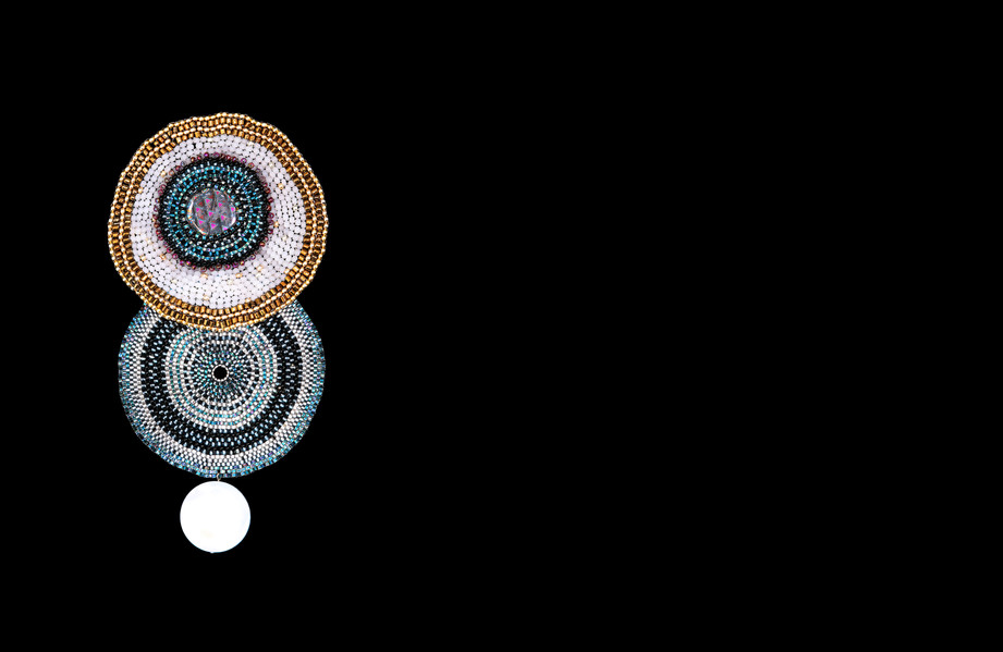 Gold and Blue Circle Brooch.jpg