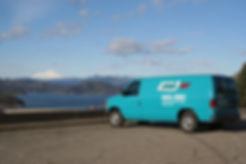 Shasta Dam view, Carpet clening van