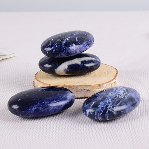 Sodalite Natural Stones, Minerals Palm Stone 6*4 Cm ChakraMassage Reiki Healing