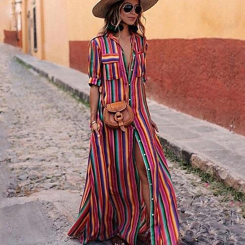 Striped Print Dress Bohemia Beach  Women Casual Loose Chiffon Long Maxi Dress