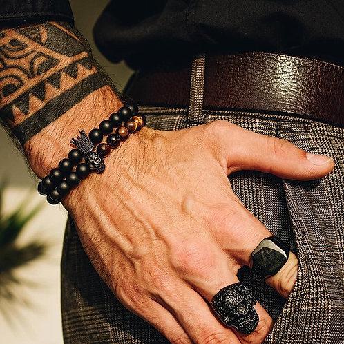 Stone Beads Crown Bracelets Handmade 2 Piece Set Erkek Bileklik Skull Jewelry