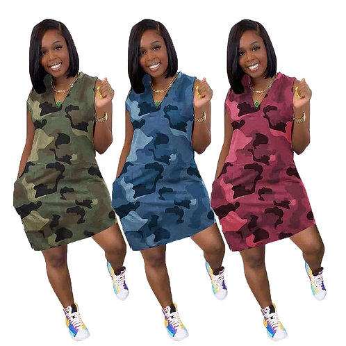 10502-Sw2 Sehe Fashion 2021 Women Casual Plus Size V-Neck Camouflage Dresses