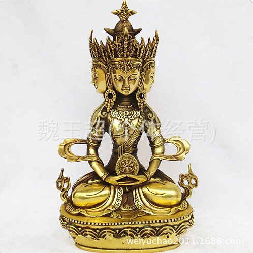 China Religious Tibet Brass Four Heads Kuan-Yin Erawan Shrine Buddha Statue