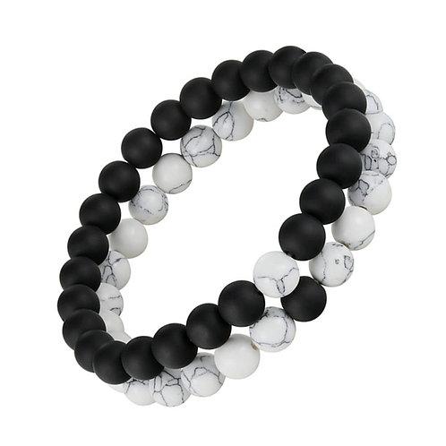 2pcs/Set Crown Beads Charm Natural Stone Bracelet Couples Friendship Bracelets