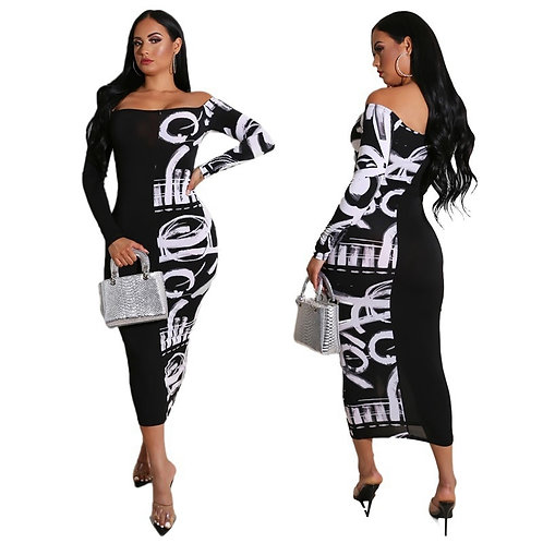 Women Abstract Letter Printed Casual Maxi Dress Off Shoulder Dress Classy