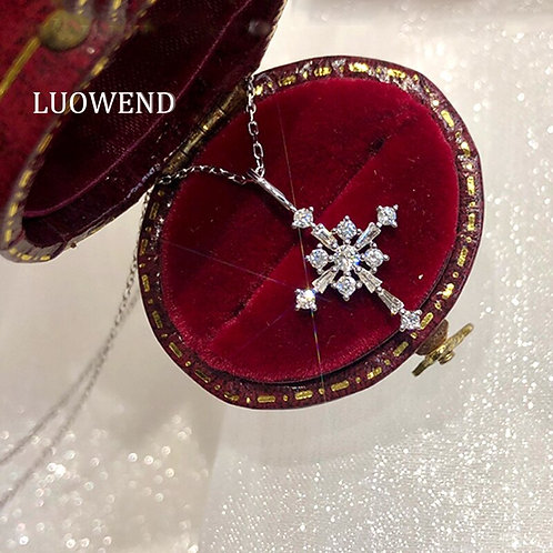 LUOWEND 18K Solid White Gold Pendant Necklace Real Natural Diamond Cross