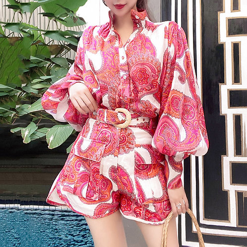 Lady's Floral Red Stand Collar One Piece Loose Cute Short Ruffle Jumpsuit Women