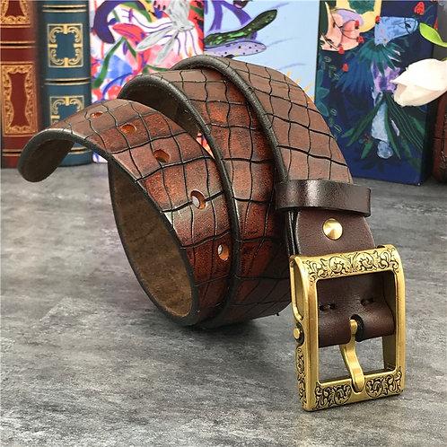 Mens Belts Luxury Hand Carving Super Leather Ceinture  Designer Brass Buckle