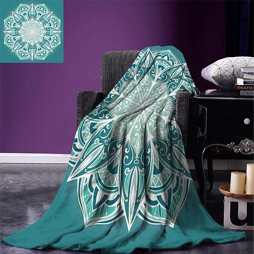 Turquoise Throw Blanket Spiritual Ritual Mandala Symbol  Metaphysical Microfiber