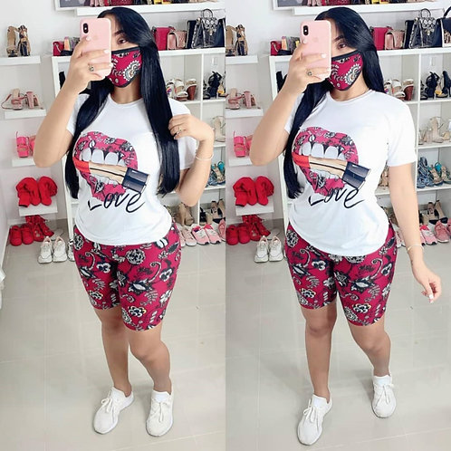 2020 New Summer Fashion Lip Print Casual T Shirt and Shorts Suit