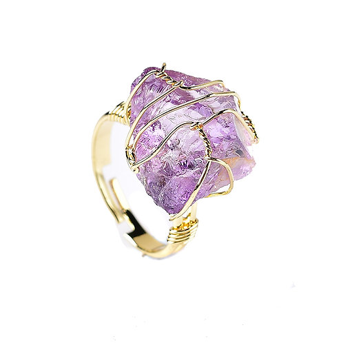 Natural Mineral Crystal Raw Stone Amethyst Ring Healing Stone for Men and WomenJ