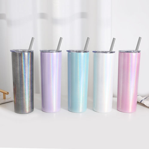 Stainless Steel Insulated Glitter 20 Oz Skinny Tumblers W/ Straw and Lid 20oz