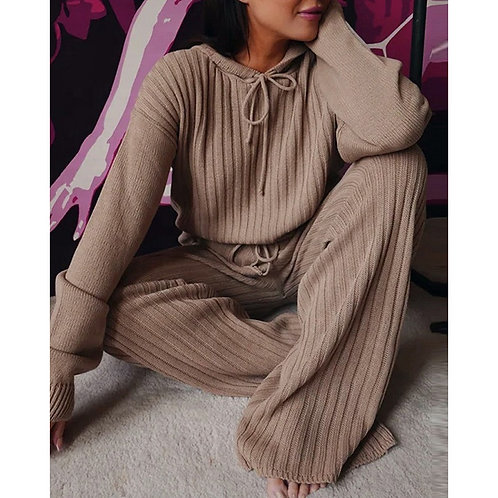 Boutique Wide Leg Pant Woman Soft Hooded Plus Size Sets for Women Two Pieces