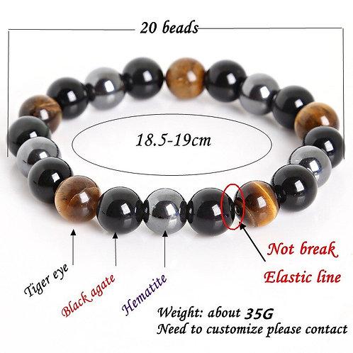 10MM Tiger Eye & Hematite & Black Obsidian  Natural Stone Bracelets