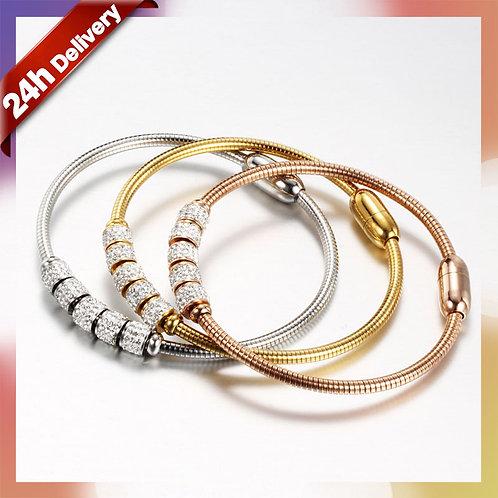 Dylam CZ Bracelet Rose Gold Bracelets  Charm Zircon Snake 18K Gold Magnetic