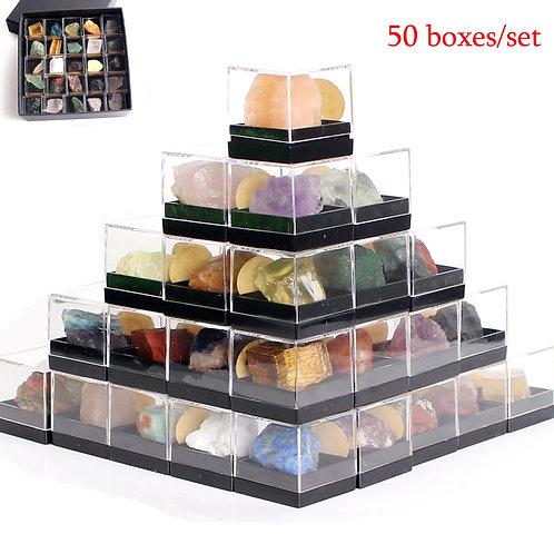 50Pcs Natural Raw Crys Set Rough Gems Org Stone Gravel Mineral Healing W/Box