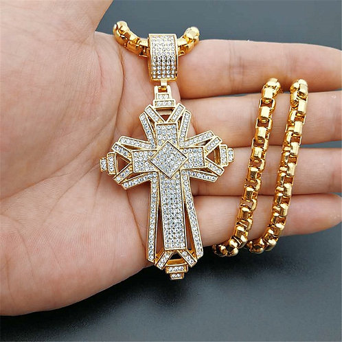Iced Out  Big Cross Pendant Necklace for Men Gold Color Christian Cruzar