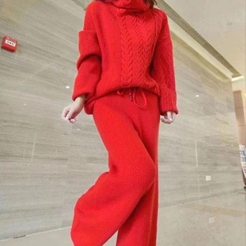 Women's Suit New Style Turtleneck Sweater Fashion Wide Leg Pants Two-Piece Suit