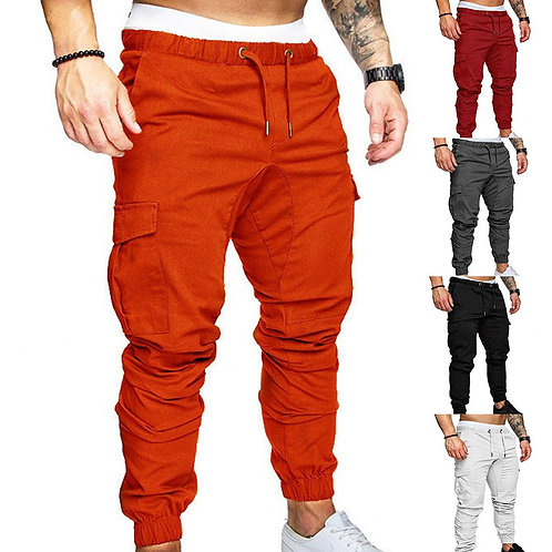 Casual Thin Breathable Tie Drawstring Long PantsPocket Ankle Tied Cargo Pants