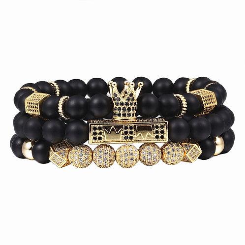 3pcs/Set Men Woman Bead Bracelet Royal Crown Charm Bangle Natural  Beads Buddha