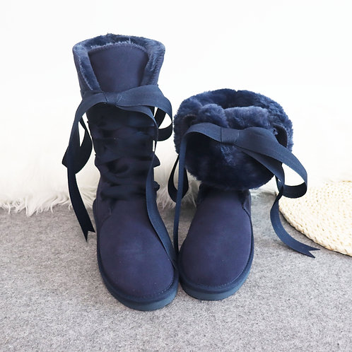 Lace Up Winter Mujer Botas Genuine Leather High Woman Boots Winter  Warm Shoes