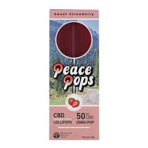 Creating Better Days - CBD Edible - Peace Pops - Sweet Strawberry - 2pc-25mg