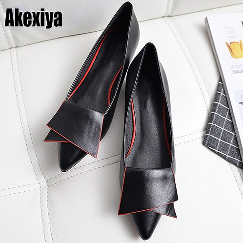 Leather Flat Shoes Pointed Toe  Low Woman Loafers Cowhide Spring Casual  Flats