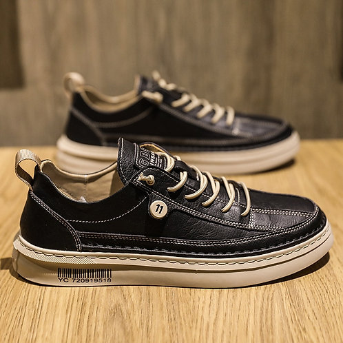Casual PU Leather Shoe Trend Men's  Flats Shoes Waterproof Non-Slip Board Shoe