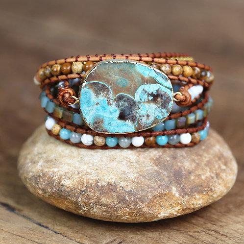 Handmade Bracelets Natural Stone Beads 5 Strands Leather Wrap Bracelet Bohemia