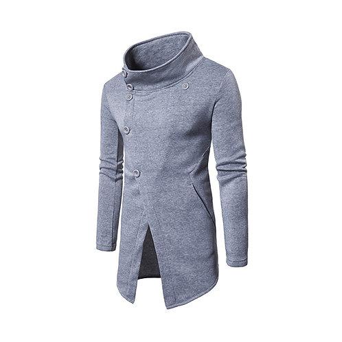 Fashion Slant Button Sweater  Cardigan Long  Jacket Coat Men Standing Collar