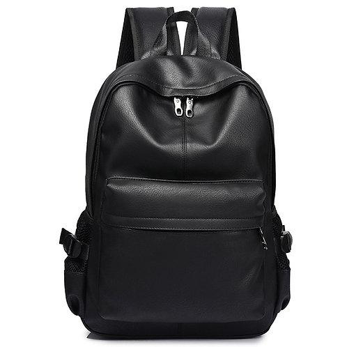 Men's Backpack  Pu Leather Leatherette Backpack Bag Black Zipper High Quality