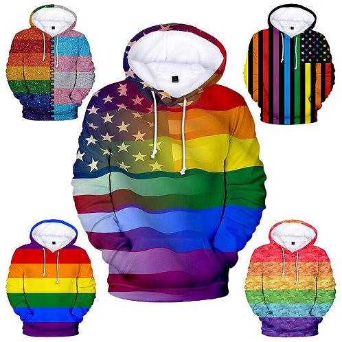 LGBT Rainbow Flag Hoodie Sweatshirt  Gay Friendly LGBTQ Equity