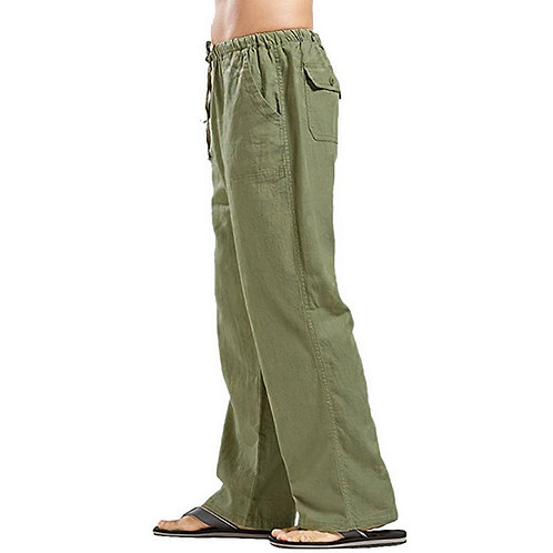 Cotton Linen Casual Pants Solid Straight Loose Streetwear Ropa Hombre Men's