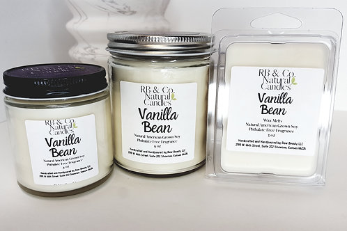 Vanilla Bean   Natural Soy Candle   Hand-Poured and Hand-Crafted