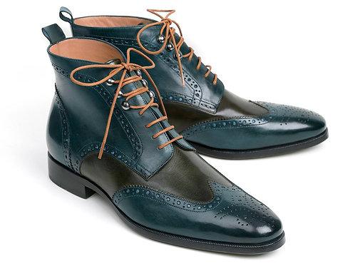 Paul Parkman Wingtip Ankle Boots Dual Tone Green & Blue (ID#PT777GRN)