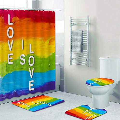 Rainbow Pride Gay Flag Shower Curtain Bath Mat Bathroom Set Toilet Carpet