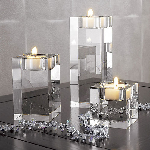 Nordic Crystal Candle Holder Centerpieces Glass Candles Home Decor Geometric
