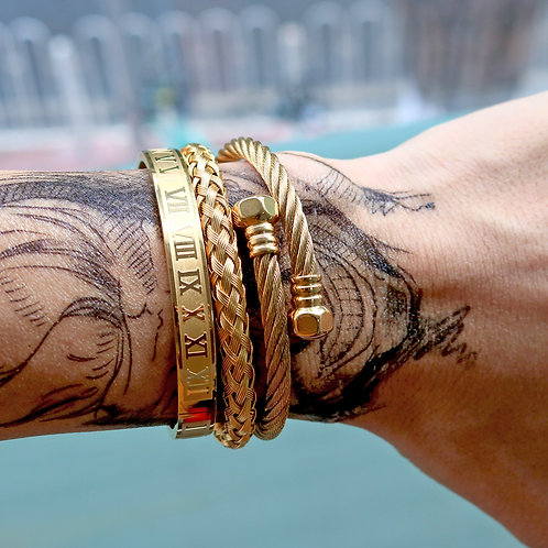 3pcs/Set Royal Roman Bracelets & Bangles Hexagon Head Bangle Bracelet for Men