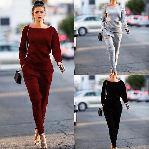 New Long Sleeve Casual Solid Lady Tracksuit Sweatshirt Pants Sets Casual Suit