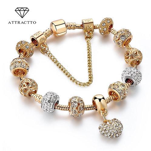 Luxury Crystal Heart Charm Gold Bracelets  Jewellery Bracelet Sbr170020